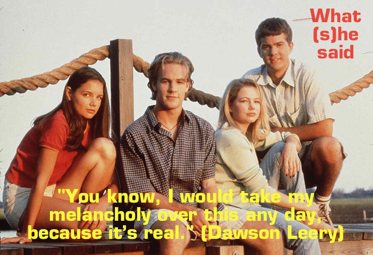 "1997 The cast of ""Dawson's Creek."" From left to right: Katie Holmes (Joey Potter), James Van Der Bee"